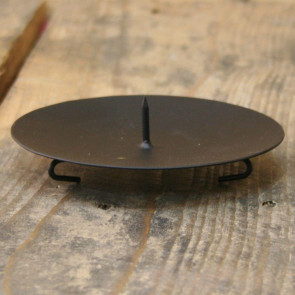 Black Round Metal Spike Candle Holder Pillar Candle Plate