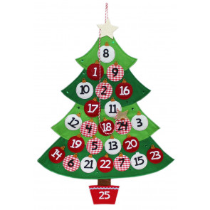 Felt Christmas Tree Bauble Advent Calendar With Pockets