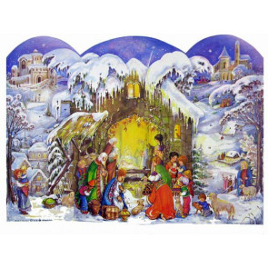 Winter Christ Is Born 3D Nativity Scene Card Advent Calendar With Envelope
