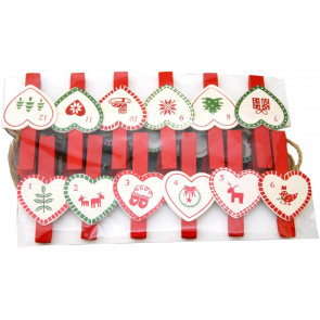 Christmas Advent Calendar Peg Garland 60Cm - Heart Design