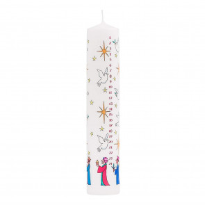 Traditional Countdown To Christmas Advent Dinner Pillar Candle ~ Wise Men Design (Large Size)