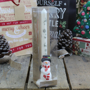 Handcrafted Christmas Advent Candle And Ceramic Holder ~ Snowman